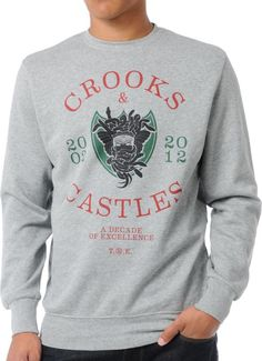 CROOKS AND CASTLES  Crooks & Castles Decade Medusa Crew Neck Sweatshirt - You can find all your smoking accessories right here on Santa Monica #CrooksAndCastles #Teagardins #SmokeShop
