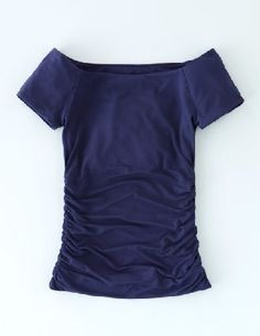 #Boden Off Shoulder Ruched Top Navy Women Boden, Navy #Ruching is a key style detail for the new season - and its no wonder. The super-flattering shape is the ultimate sin-forgiver (no matter how many carbs youve inhaled). This off-the-shoulder shape is double-lined, so it feels really luxe - perfect for those œIm heading straight out after work days.