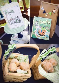Charming Vintage Storybook Birthday Party: mini bunting on favor bags (wooden initial tags from Michaels), mini woven picnic baskets for doughnut holes