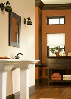 Rich and caramely, this cozy bathroom inspiration includes a trifecta of classic BEHR paint colors in Blonde Wood, Sweet Molasses, and Ivory Lace—perfect for adding a warm tone to any room.