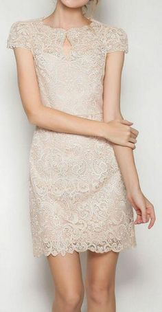 Apricot Lace Bodycon Dress <3