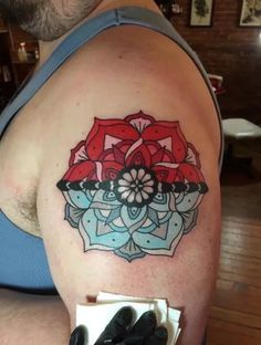 Pokeball Mandala, Original Design by Candace Owings at Temple Art Tattoo in Hagerstown, MD Pokeball Tattoo, Pokemon Tattoo, Gamer Tattoos, Anime Tattoos, Body Art Tattoos, Tatoos, Avatar Tattoo, Cartoon Character Tattoos, Harry Potter Tattoos