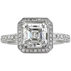 This captivating Asscher cut diamond engagement ring is such an outstanding value! The stunning Asscher cut center diamond is GIA certified at Asher Cut Engagement Rings, Asscher Cut Diamond Engagement Ring, Diamond Rings, Gia Certified Diamonds, White Gold Rings, Or Rose, Natural Diamonds, Wedding Jewelry, Diamond Cuts