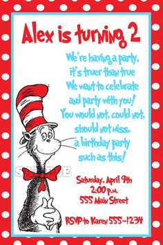Image Detail for - Personalized Birthday Party Invitations-Cat in the Hat