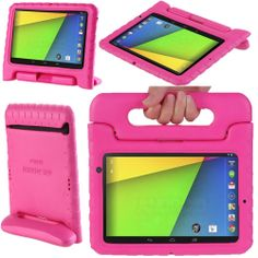 New Nexus 7 2013 cover for toddlers. The carrying handle doubles as a stand. Lightweight so children can easily carry their tablet. In pink and blue colours.