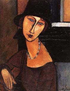 Amedeo Modigliani - Jeanne Hebuterne with Hat and Necklace - 1917 - Drawpaintprint