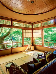 The sheer simplicity, the wide-open feel and the view outside serves to bring about a sense oa calm and peace with an uncluttered mind. - Hoshinoya ryokan in Arashiyama, Kyoto, Japan 星のや Japanese Style House, Traditional Japanese House, Japan Design, Japanese Architecture, Interior Architecture, Sustainable Architecture, Residential Architecture, Bg Design, Japanese Interior Design