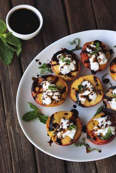 Grilled Peaches with Whipped Coconut Cream, Honey Balsamic Drizzle and Mint #paleo