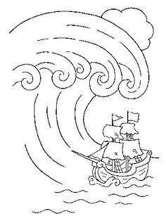 ocean waves coloring pages for kids | Tsunami Wave Coloring Page Sketch Coloring Page