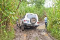truck stucked on mud los patos to sirena ranger station corcovado national park  - Costa Rica