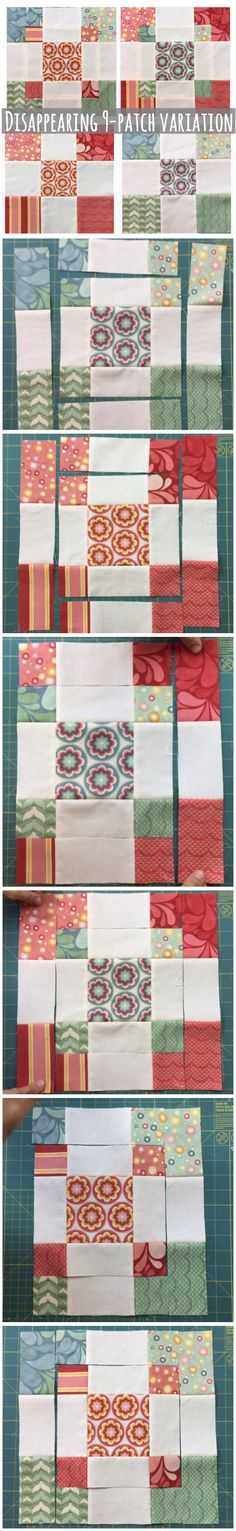Disappearing 9 patch variation block with charm squares - Deutschland Ideen 2020 Patchwork Quilting, Scrappy Quilts, Quilting Tips, Quilting Tutorials, Quilting Designs, Modern Quilting, Quilting Fabric, Quilt Block Patterns, Pattern Blocks