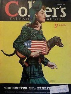 Vintage USA Dachshund magazine Cover Colliers, 5 October 1940by Martha Sawyers onebay.com