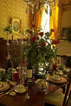 Southern women know how to set a table to capture Rhett or whomever they have their heart set on. Who could resist - the wine, the bantering during dinner, batting eyelashes in candlelight,  step into the parlor; and, the rest is history darlin`!