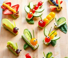 These adorable fruit & vegetable bug snacks are so much fun to make! Get the recipe to make your own from Nature's Path Organic. Toddler Snacks, Fun Snacks For Kids, Kids Meals, Bug Snacks, Lunch Snacks, Vegetable Snacks, Food Art For Kids, Creative Snacks, Food Humor