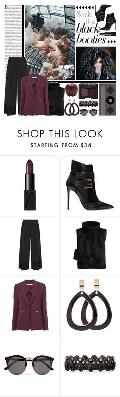 """These Booties Are Made For Walking"" by queen-seraphine ❤ liked on Polyvore featuring NARS Cosmetics, Balmain, Emporio Armani, Veronica Beard, Illesteva, Armenta and blackbooties"