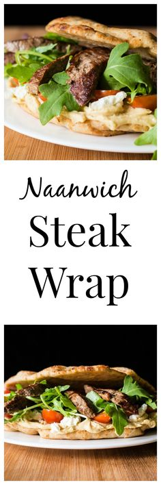 This delicious steak wrap sandwich made with naan bread is quick, easy, and so full of fresh flavor.  Try it for lunch or dinner today!  #WeekdaySupper @beeffordinner