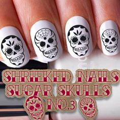 20 Sugar Skulls Nail WRAPS Nail Art Stickers Water Transfer Day of the Dead No.3