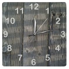 Shadow Planks Wood Deck Knotty_with numbers Wall Clock