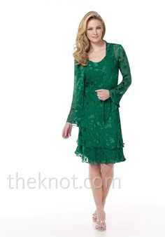 Dress features beading and matching jacket. Also available in sizes 16W - 26W.