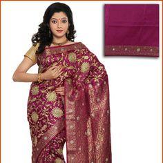 Dark Rani Pink Art Silk Saree With Blouse