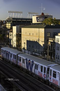 """""""On this day in I took one of my favorite photos - the Chicago Cubs World Series Championship CTA Train going by Wrigley Field. This took major coordination to pull off. Chicago Cubs Fans, Chicago Cubs World Series, Chicago Chicago, Chicago Travel, Chicago Skyline, Chicago Illinois, Baseball Park, Chicago Cubs Baseball, Baseball Live"""
