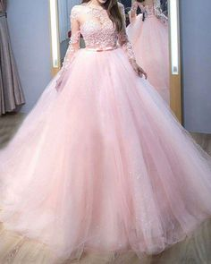 Pink Lace AppliquedJewel Neck Tulle Ball Gown Prom Dress with Long Sleeves Ball Gown Prom Dresses, Lace Prom Dresses, Long Sleeves Prom Dresses, Pink Prom Dresses, Prom Dress Prom Dresses 2019 Tulle Ball Gown, Ball Gowns Prom, Tulle Dress, Ball Dresses, Dress Prom, Dress Lace, Lace Bodice, Pageant Dresses, Pink Evening Gowns