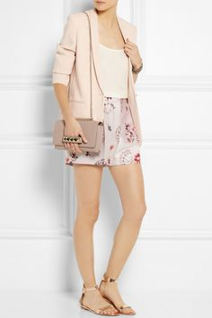 Stella McCartney | Mattea stretch-cady blazer | Stella McCarney | Warwick high-rise floral jacquard shorts | Equipment | Washed silk camisole | Valentino | Va Va Voom leather shoulder bag | Gianvito Rossi | Metallic leather sandals