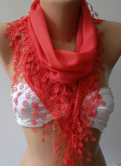 ON SALE.....Coral Color - Cotton -Scarf-Shawl - Feminine.... $13.90, via Etsy.  I want this :(