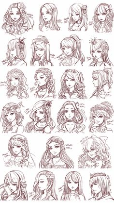 Anime Long Hair, How To Draw Anime Hair, Anime Curly Hair, Anime Girl Short Hair, Art Drawings Sketches Simple, Illustration Sketches, Art Illustrations, Skull Illustration, Beautiful Drawings