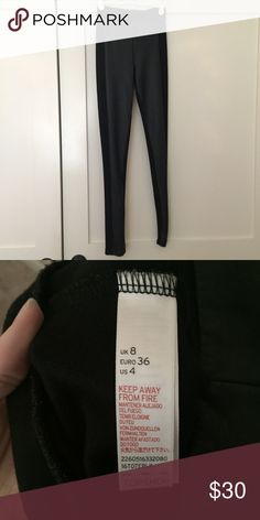 Topshop leather leggings Black leather leggings from Topshop Chicago. Worn once for a modeling competition, look like new. Labeled size 4 but fits like a 0-2 Topshop Pants Leggings