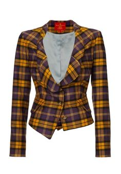 Keep out the wintry blues with Vivienne Westwood's decadent tartan jacket. In true Westwood style, this piece comes exquisitely crafted in a vibrant orange and violet check. With a two Orb engraved button fastening, the last button hole is false creating a drunken tailored finish. Crafted with draped lapels, this darted, elegant piece is beautifully finished with black piping for a distinctive finish.