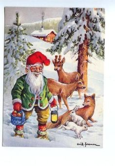 141904 SANTA CLAUS Hare FOX Deer by Erik FORSMAN old color PC