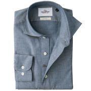 イタリア製 ジャガード織りコットンカッタウェ長袖カジュアルシャツ  イタリア製シャツ  ワイドカラー ホリゾンタルカラー ブルー系 460650-100 GALLIPOLI camiceria(ガリポリカミチェリア)