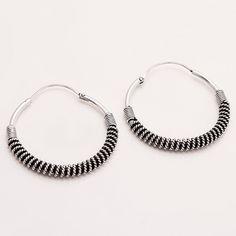 925 Sterling Silver Hoop Earrings Women Fine Wire Work Bohemian Jewelry Antique Retro Vintage tribal Old Earrings Handmade Mothers Jewelry by Littllepetals on Etsy