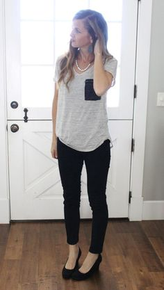 what i wore - black skinny jeans, suede black wedges, casual grey tee with rhinestones
