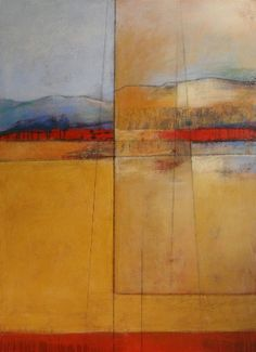 abstract landscapes - KAREN JACOBS  contemporary and abstract paintings scratch into it to show underpainting