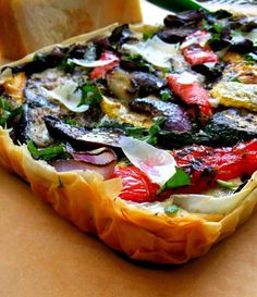 Finally a way to serve my grilled veggies - Grilled Vegetable Tart with Phyllo Vegetable Tart, Vegetable Dishes, Cooked Vegetable Recipes, Veggie Meals, Quiches, Vegetarian Recipes, Cooking Recipes, Healthy Recipes, Easy Recipes