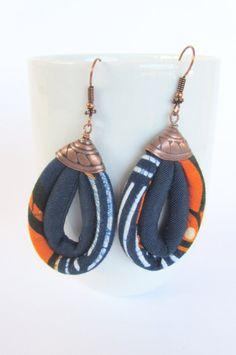 blue and orange earrings/ fabric earrings/ dangling earrings Fabric Earrings, Fabric Beads, Diy Earrings, Stone Earrings, Chandelier Earrings, African Earrings, African Jewelry, Textile Jewelry, Fabric Jewelry