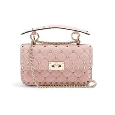 Valentino Rockstud Spike small quilted-suede shoulder bag (2,485 NZD) ❤ liked on Polyvore featuring bags, handbags, shoulder bags, light pink, quilted handbags, quilted chain strap shoulder bag, chain shoulder bag, quilted chain shoulder bag and valentino handbags