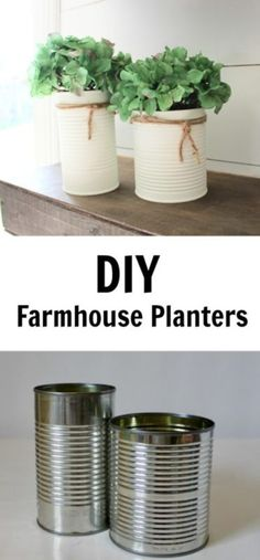 How To Turn Upcycled Tin Cans Into Beautiful Home Decor For Cheap . - Dosen - Farmhouse Planters - Thin Cans - How To Turn Upcycled Tin Cans Into Beautiful Home Decor For Cheap . - Dosen - Farmhouse Planters - Thin Cans - Upcycled Crafts, Recycled Decor, Recycled Tin Cans, Upcycled Home Decor, Diy Home Decor, Upcycled Garden, Upcycle Home, Cheap Home Decor, Repurposed