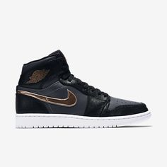 Air Jordan 1 Retro High Black/Dark Grey/White/Metallic Red Bronze