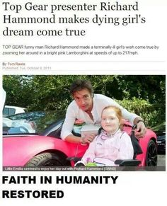 Richard Hammond treats poorly child to drive in pink Lamborghini - SWNS Top Gear Funny, Top Gear Bbc, Clarkson Hammond May, Pink Lamborghini, Faith In Humanity Restored, Grand Tour, Girls Dream, Man Humor, Good People