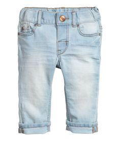 Check this out! 5-pocket jeans in soft, washed stretch denim with an adjustable elasticized waistband, fly with snap fastener, and slim legs. - Visit hm.com to see more.