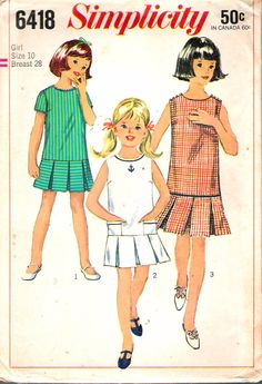 """Vintage 1966 Simplicity 6418 Girls' One-Piece Dress Sewing Pattern Size 10 Breast 28"""" UNCUT by Recycledelic1 on Etsy"""