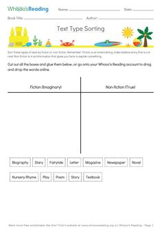 Students will love getting hands-on with this one! Literacy Worksheets, Text Types, Book Title, Nonfiction, Texts, Students, Teacher, Author, Hands