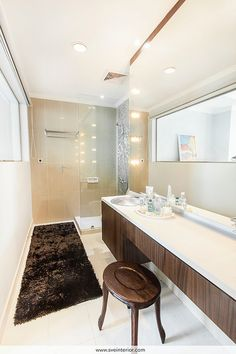Modern bathroom with dressing counter