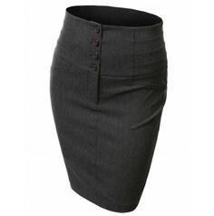 Doublju women's Pencil Skirt High Waisted With 4 Buttons