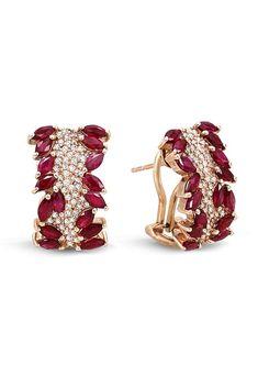 Gemma Ruby and Diamond Earrings, 4.20 TCW.