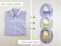Bib Drool Bow Tie DIY ... pour BOYS! (À partir de la chemise d'un homme) | via Make It et Love It