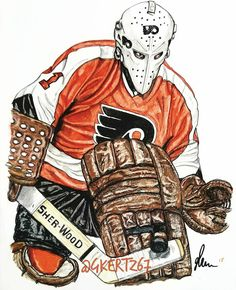 "Bernie Parent ""Old time Hockey"" Flyers Hockey, Ice Hockey Teams, Hockey Goalie, Bernie Parent, Nhl Logos, Philadelphia Flyers, Sports Art, Parenting, Sleeve Designs"